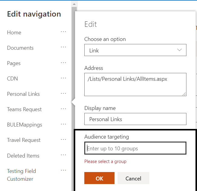 M365 - SharePoint Online - Audience Targeting for the navigation item