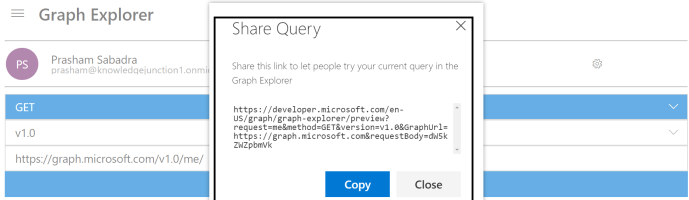 "Microsoft Graph - New Features - Share Query - ""Share Query"" dialog to copy the query which we just ran"
