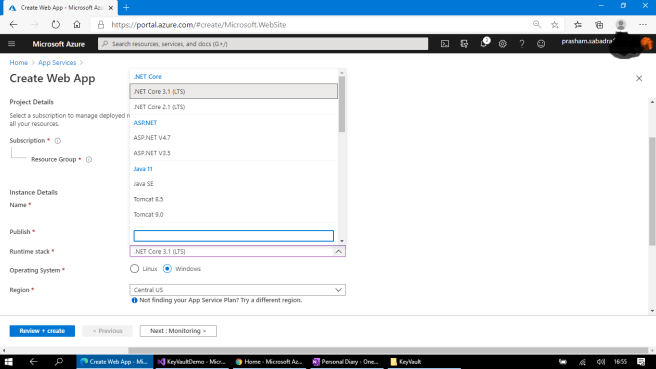 Azure - Creating App Service, the Windows instance already have all the supported .NET Core versions