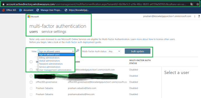 Azure Active Directory admin center - Users dashboard - multi-factor authentication users service settings page
