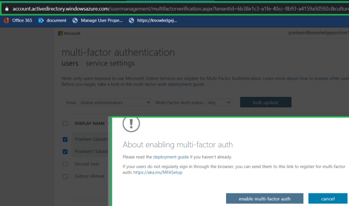 M365 - Azure Active Directory admin center - Users dashboard - multi-factor authentication users service settings page >> About enabling multi-factor auth for the selected users.