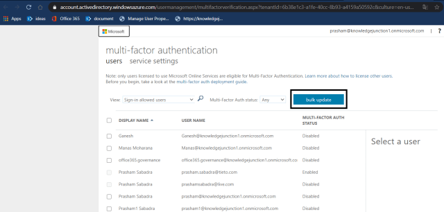 Microsoft 365 - Azure Active Directory admin center - Users dashboard - multi-factor authentication page