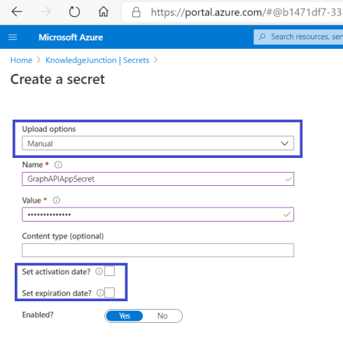 Azure - Key Vault - Creating new Secret in Key Vault