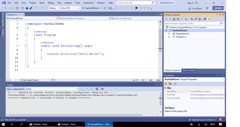 Azure - Creating a new project - .NET Core console application - Visual Studio 2019