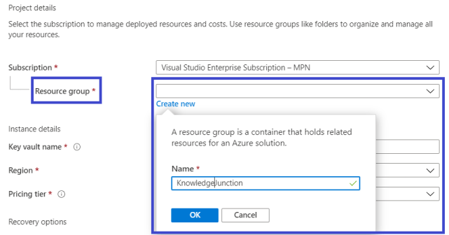 Azure - Key Vault - Creating new Key Vault >> Adding new Resource Group
