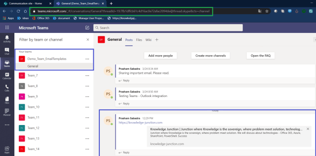 Microsoft Teams - Displaying shared message from Knowledge Junction article (https://knowledge-junction.com/ )