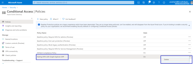 Azure - Conditional Access Policy - Deleting the policy