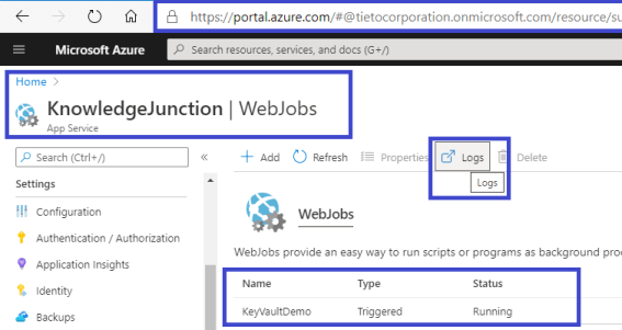 Fig : Azure - Webjobs Logs link from Webjobs listings dashboard