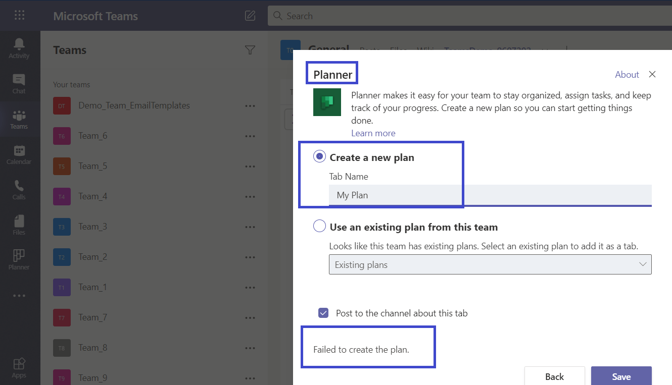 Failed to add planner in Teams