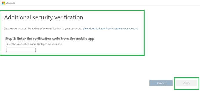 "M365 - Azure Active Directory admin center - ""Additional security verification"" page step 2  for entering the verification code from the mobile app"