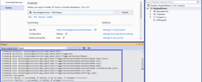 Azure - Successfully published .NET Core console application to Azure as Azure Webjobs from Visual Studio 2019 - details in output window