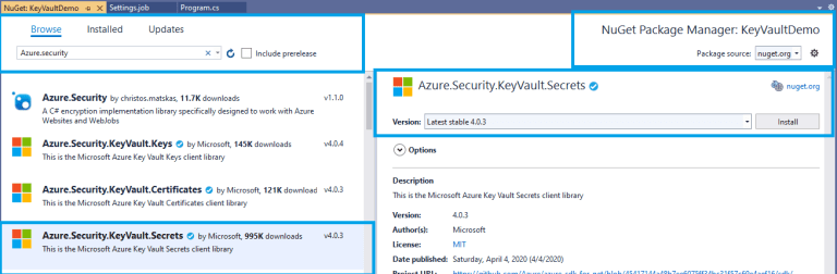 Azure - .Net Core console application - installing NuGet package - Azure.Security.KeyVault.Secrets