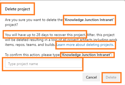 Azure DevOps - Deleting project - Delete project dialog