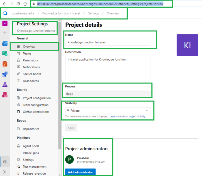 Microsoft Azure DevOps – Project Settings - Overview page