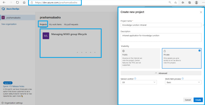 "Microsoft Azure DevOps - Creating new Azure DevOps project - ""Create new project"" dialog"