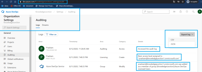 Azure DevOps - Starting with Azure DevOps - Organization Settings - Auditing