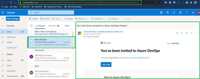 Azure DevOps - Starting with AzureDevOps - New user creation email