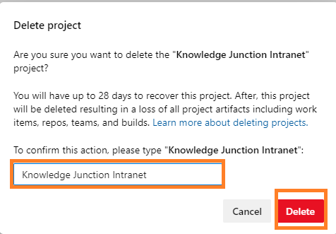 "Azure DevOps - Deleting project - Delete project dialog - Entering project name - ""Delete"" button get enabled"