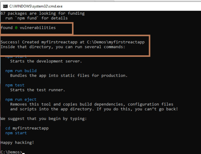 """React - Creating first react app using """"create-react-app"""" using npx command - our first app """"myfirstreactapp"""" created successfully"""