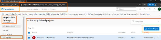 "Azure DevOps - Organization setting page - Projects - Recently deleted projects - ""Restore Projects"" option"