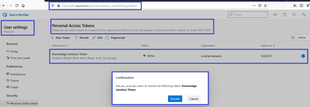 Azure DevOps - Personal access token home page - Revoke confirmation dialog