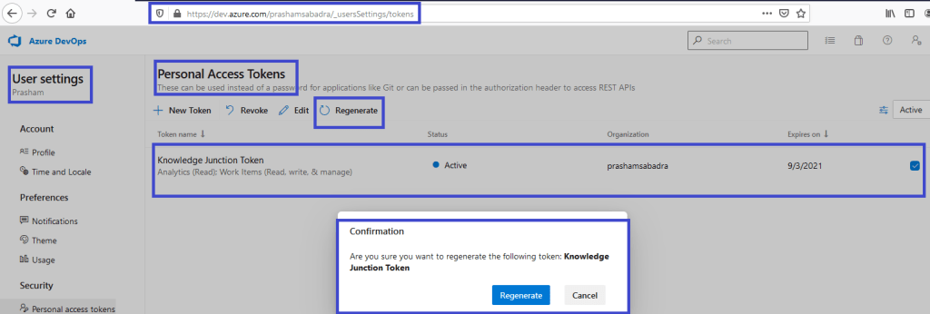 Azure DevOps - Personal access token home page - Regenerate confirmation dialog