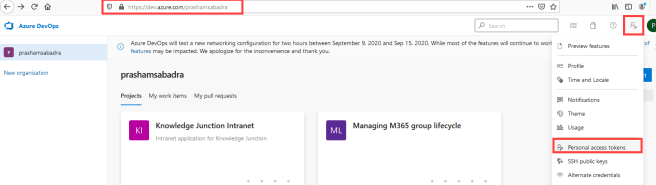 Azure DevOps - Creating Personal access tokens (PAT) - User Settings >> Personal access tokens