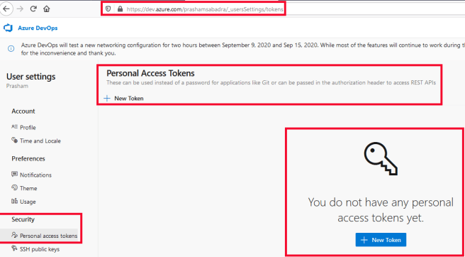 Azure DevOps - Creating Personal access tokens (PAT) - PAT home page