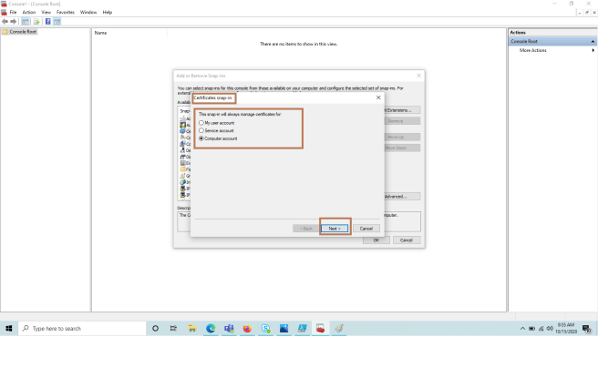 MMC >> Importing certificate to Certificates snap-in >> Selecting the account for which certificate is managed