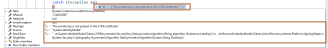 M365 - Calling Graph APIs - Retrieving Access Token - The private key is not present in the X.509 certificate error