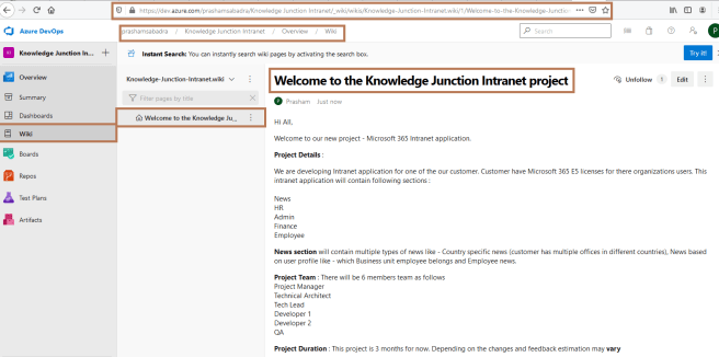 "Microsoft Azure DevOps - Wiki created for ""Knowledge Junction Intranet"" project"
