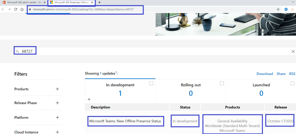 Microsoft Teams - Roadmap ID 68727 for feature – New Offline Presence Status