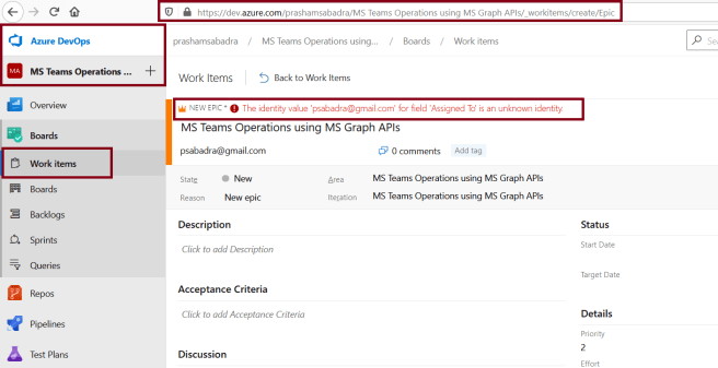 Azure DevOps - Creating new Epic in project and assigning to the user from different domain