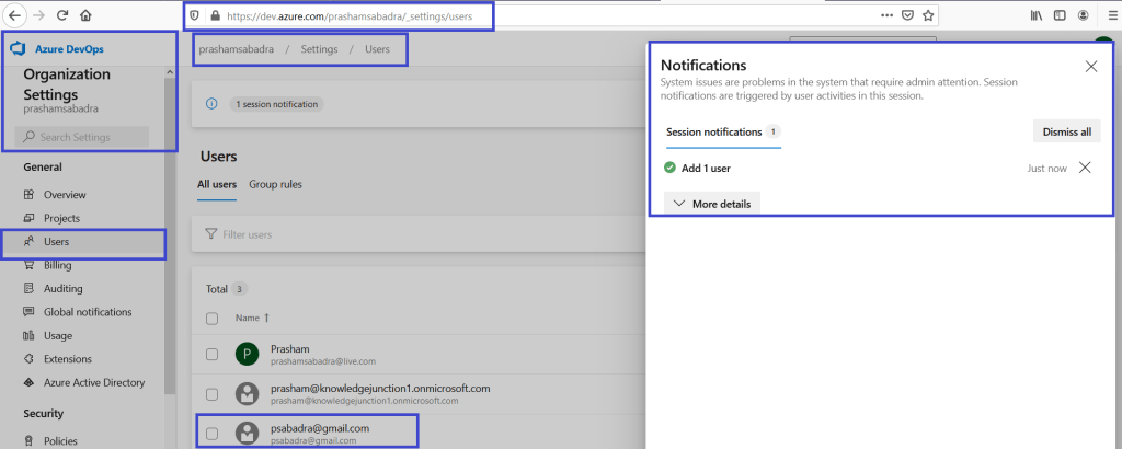 Azure DevOps - Organization Settings page - Users - New user added successfully