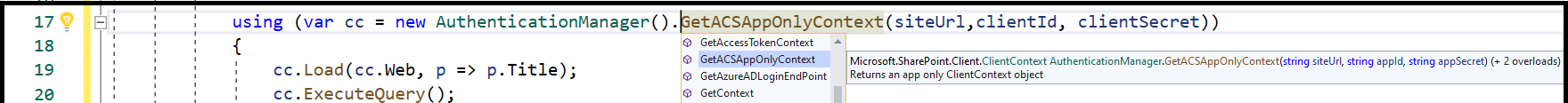 "M365 - SharePoint Online - CSOM - using ""PnP.Framework"" in .NET Core console application to get the SharePoint Online client context - AuthenticationManager.GetACSAppOnlyContext() returns SharePoint online Client Context - Microsoft.SharePoint.Client.ClientContext as"