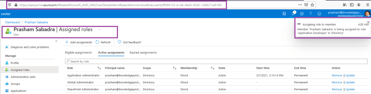 Azure Active Directory admin center - Assign new role to respective user - status dialog
