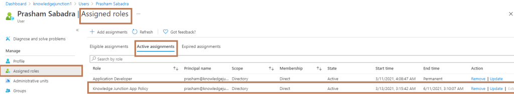 Creating custom role definition - Azure Active Directory admin center - User Profile >> Assigned roles >> new custom role definition assigned to the user