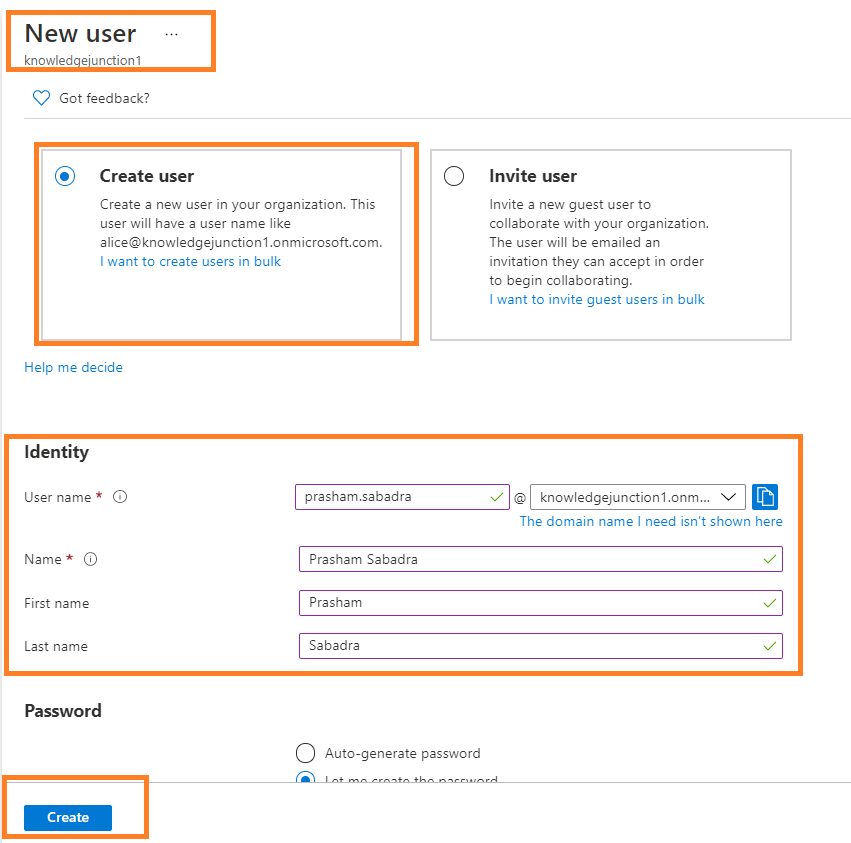 fig : Azure Active Directory admin center - Creating new user