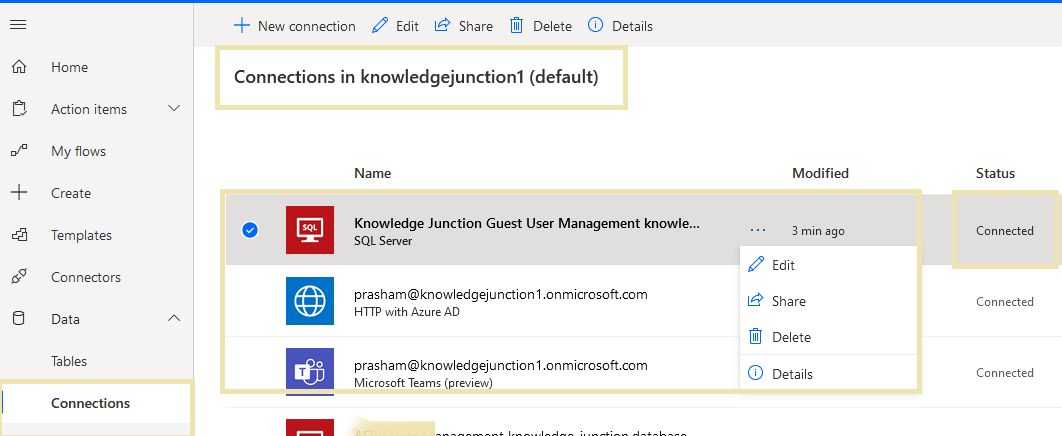 Power Automate - SQL Server connector - Added successfully