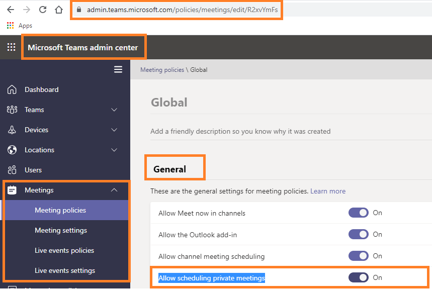 Microsoft Teams - Meetings >> Meeting policies >> Global >> Allow scheduling private meetings