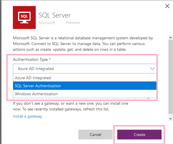 """Power Automate - SQL Server connector - Adding new connection to SQL Server - Selecting """"SQL Server Authentication"""" Authentication Type"""