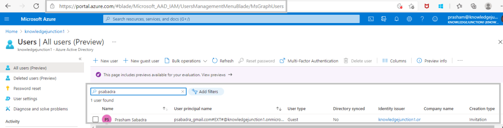 Azure >> Azure AD >> Manage Users >> guest user in user list