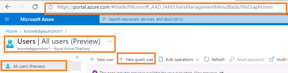 Azure >> Azure AD >> Manage Users