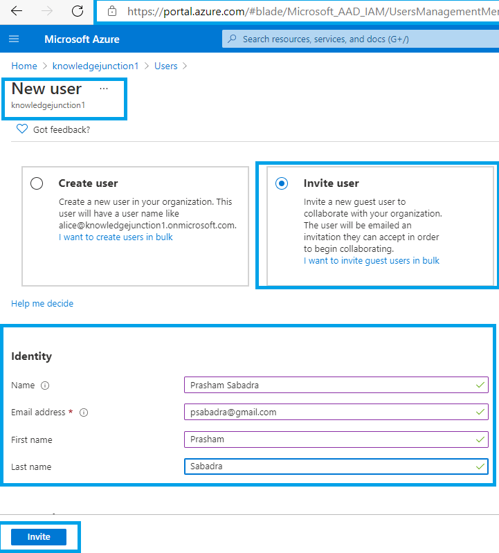 Azure >> Azure AD >> Manage Users >> Adding new guest user