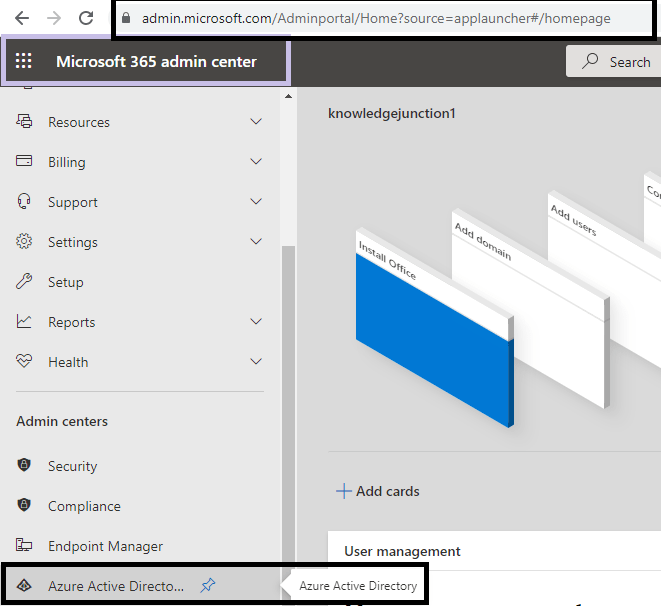 Azure AD portal access from Microsoft 365 admin center