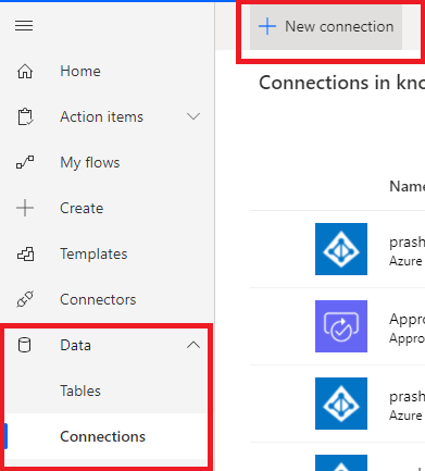 Power Automate - Connections - Creating new connection