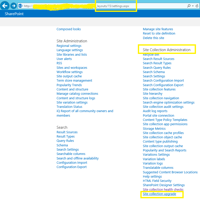 SharePoint 2013 - Settings page - Site Collection Administration - Site collection upgrade
