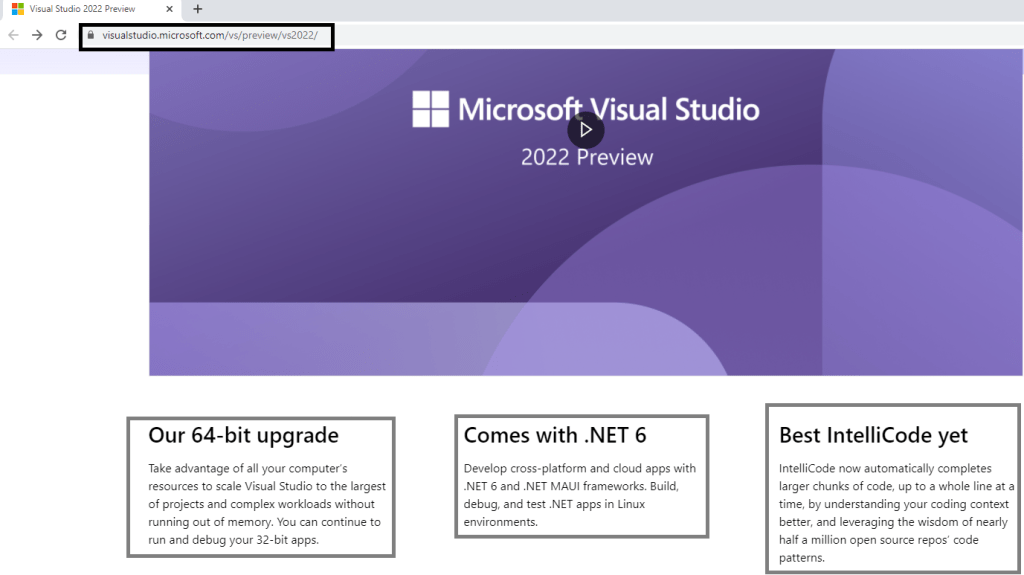 Visual studio 2022 preview home page