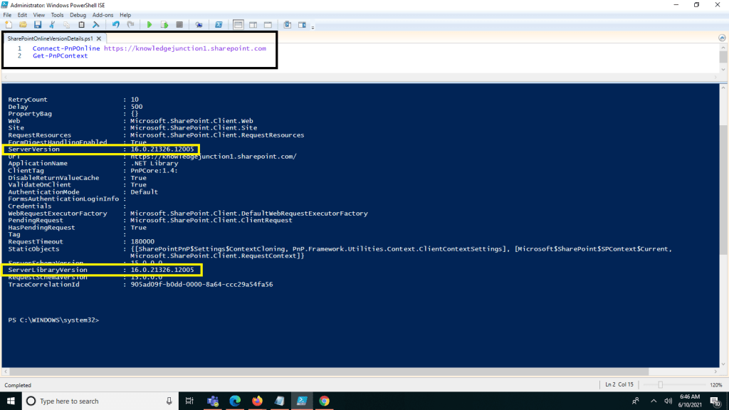 Fetching SharePoint online version using PowerShell