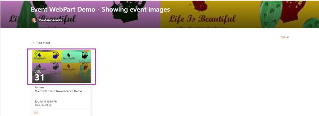 M365 - SharePoint online - Event web part with images